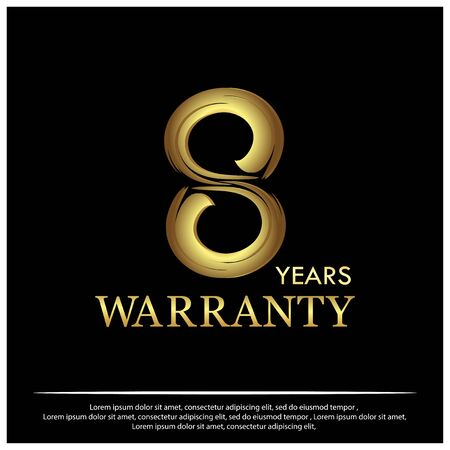 Eight years warranty golden label on black background - Vector