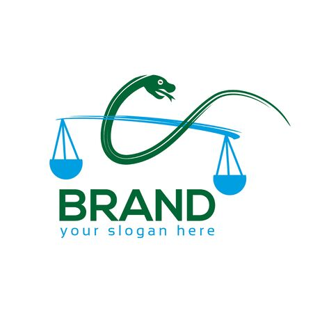 Justice Snake Logo. flat design. Vector Illustration on white background