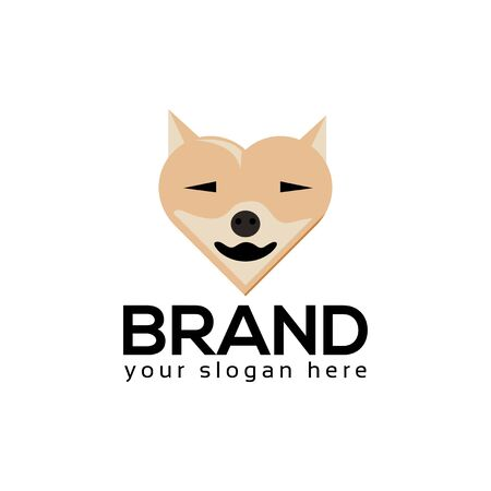 Dog love Logo, flat design. Vector Illustration on white background