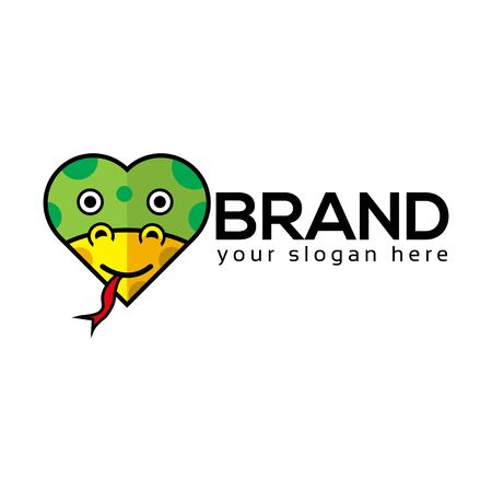 Snake Love Logo, flat design. Vector Illustration on white background Ilustracja