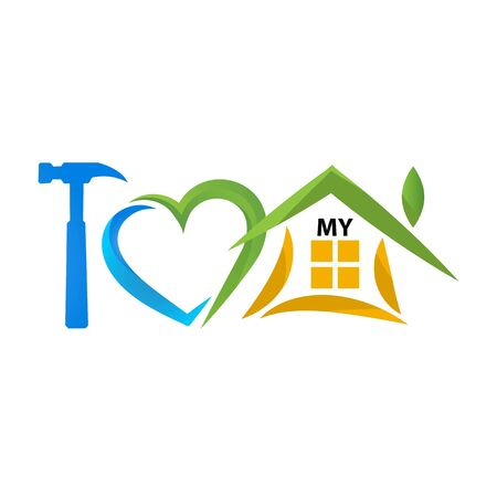 I love my house with a hammer, love and home icon. Vector Illustration on white background