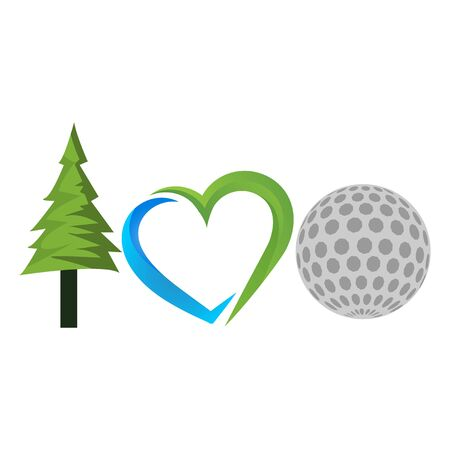 I love my golf with spruce, love and golf ball icon. Vector Illustration on white background