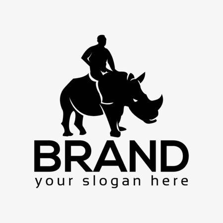People rides on rhino, rhino logo. Flat design. Vector Illustration on white background