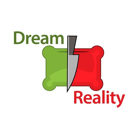 Separating dream and reality vector concept. flat design. Vector Illustration on white background