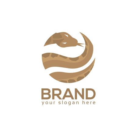 Snake Circle Logo. flat design. Vector Illustration on white background. Иллюстрация