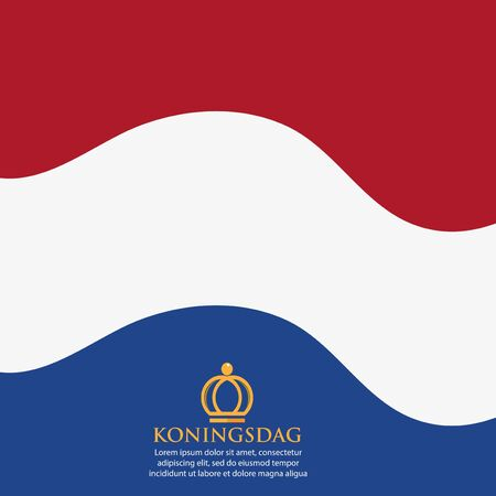 Vector illustration. background Netherlands Koningsdag of April 27, King's Day. designs for posters, backgrounds, cards, banners, stickers, etc Иллюстрация