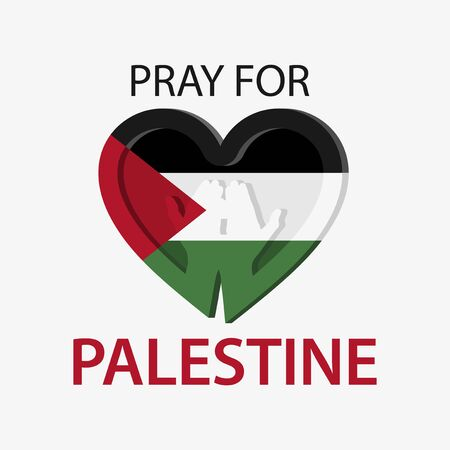 Pray for Palestine with love icon. Vector Illustration on white background.