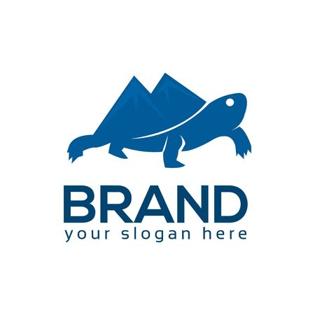 Mountain Turtle Logo, flat design. Vector Illustration on white background.