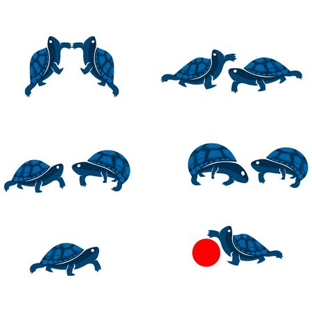 Blue Turtle Vector, flat design. Vector Illustration on white background.