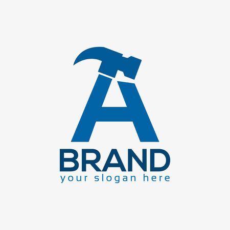 Letter A Hammer Logo. Flat design. Vector Illustration on white background