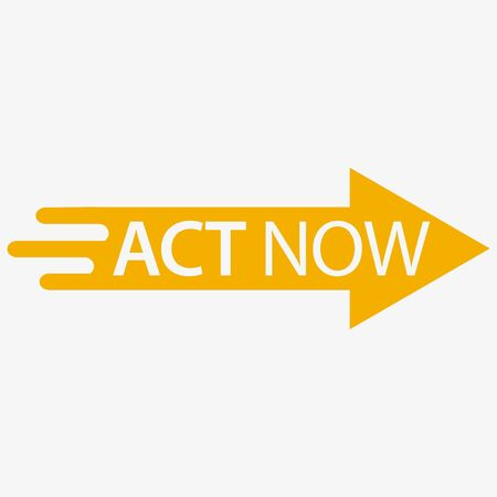 Act now icon with flash. Flat design. Vector Illustration on white background.