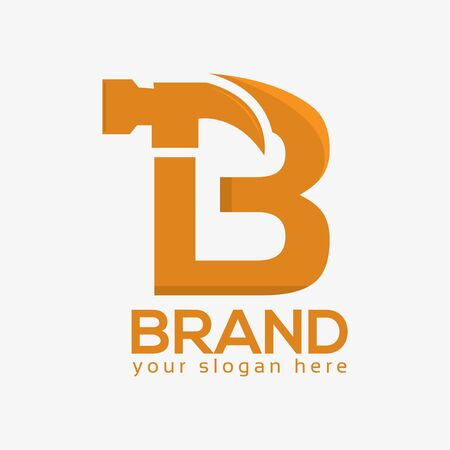 Letter B Hammer Logo. Flat design. Vector Illustration on white background