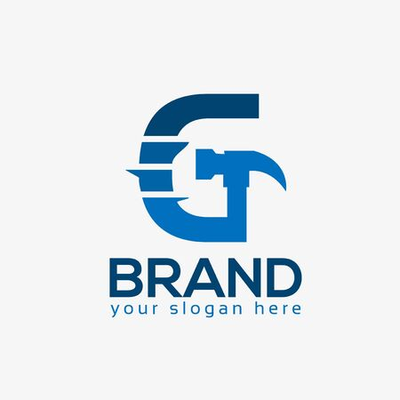 Letter G Hammer Logo. Flat design. Vector Illustration on white background Иллюстрация