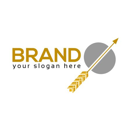 Wheat Arrow Logo, flat design. Vector Illustration on white background Иллюстрация