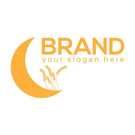 Wheat And Crescent Moon Logo, flat design. Vector Illustration on white background