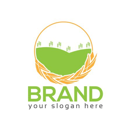 Wheat Farm Logo, flat design. Vector Illustration on white background