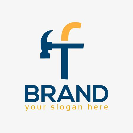 Letter F Hammer Logo. Flat design. Vector Illustration on white background
