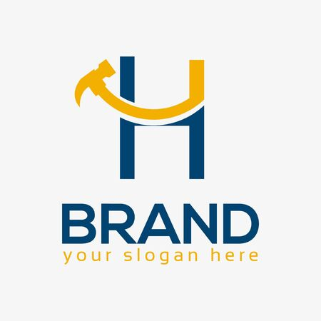 Letter H Hammer Logo. Flat design. Vector Illustration on white background Иллюстрация