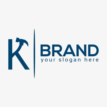 Letter K Hammer Logo. Flat design. Vector Illustration on white background