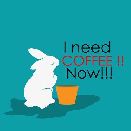 I need coffee now with plastic cups and rabbits. Flat design. Vector Illustration on turquoise Иллюстрация