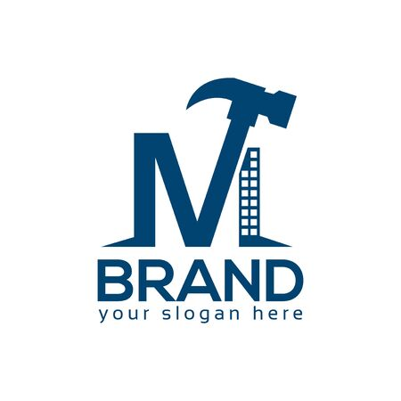 Letter M Hammer Logo. Flat design. Vector Illustration on white background