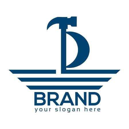 Ship Repair Logo, Flat design. Vector Illustration on turquoise background
