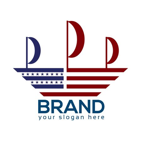 American Ship Logo. Flat design. Vector Illustration on white background