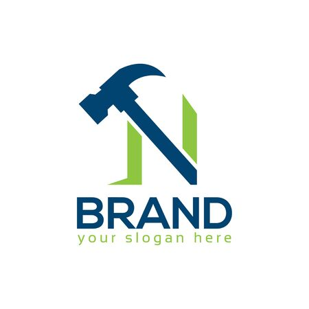 Letter N Hammer Logo. Flat design. Vector Illustration on white background