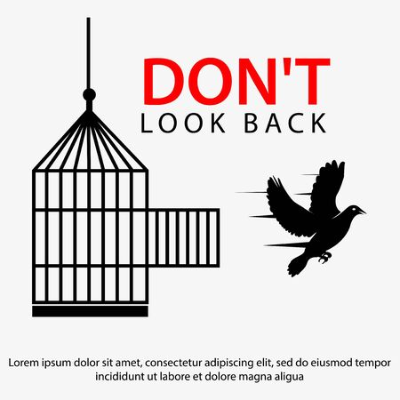 Don't look back with doves and cage. Flat design. Vector Illustration on white background.