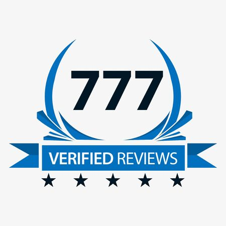 777 verified reviews with ribbon. Vector Illustration on white background. Иллюстрация