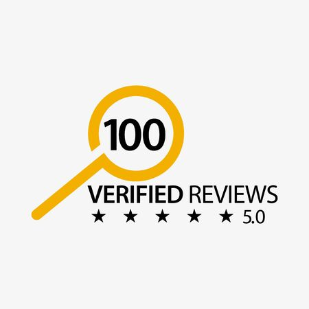 100 verified reviews with magnifying glass. Flat design. Vector Illustration on white background. Иллюстрация