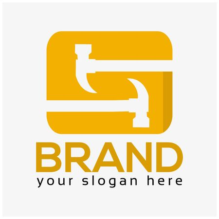 Letter S Hammer Logo. Flat design. Vector Illustration on white background