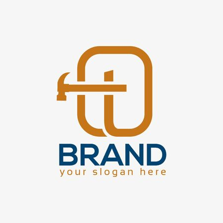 Letter T Hammer Logo. Flat design. Vector Illustration on white background
