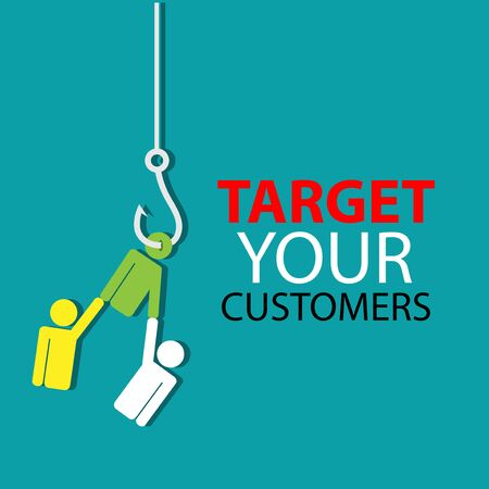 Target your customers with hook fish and people. Flat design. Vector Illustration on turquoise background.