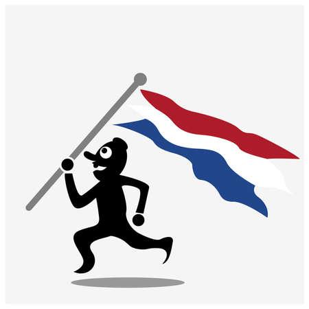 Man Running With Dutch flag vector illustration 矢量图像