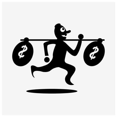 Man Running With money, illustration in vector format - stock illustration.