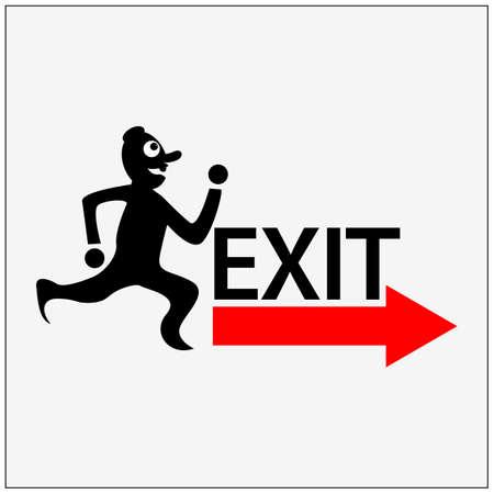 Man running towards the exit illustration