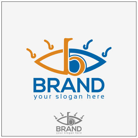 Eye logo on white with initial b