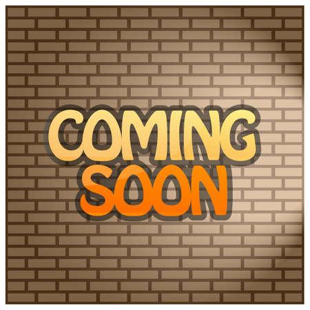 Coming Soon on Brick wall, Stock background. Vector illustration. 矢量图像