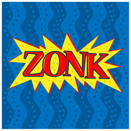 Zonk art funny comic speech word. Trendy Colorful retro vintage comic background in pop art retro comic style 矢量图像