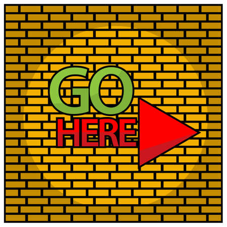 Go here with triangle. Vector Illustration on Brick wall background. 矢量图像