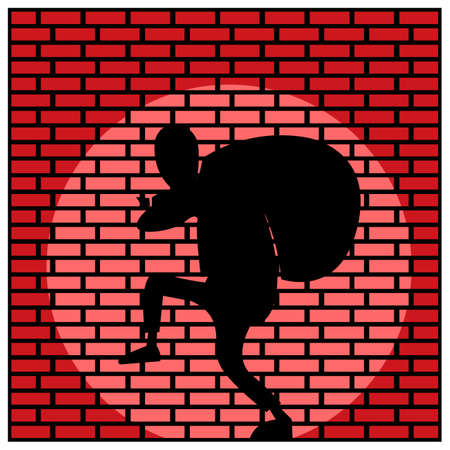 Beware of thieves. Vector Illustration on Brick wall background. 矢量图像