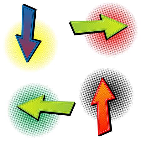 Arrows in pop art retro comic style. Stock icon. Easy editable.