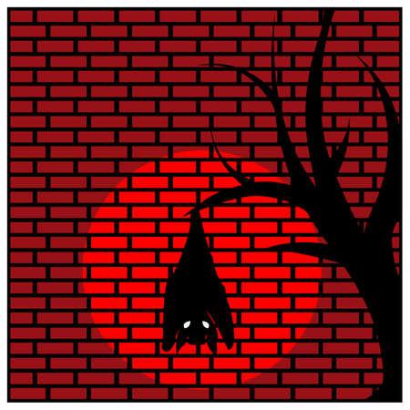 Bat hanging on tree branch. Vector Illustration on Brick wall background.