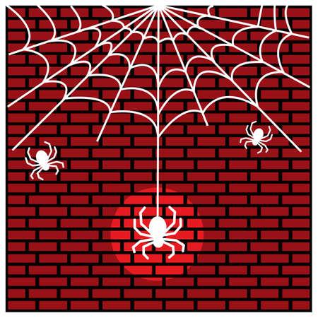 Spider and cobweb. Vector Illustration on Brick wall background. 矢量图像