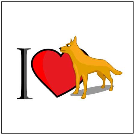 I love dog. Vector Illustration on white background. 矢量图像
