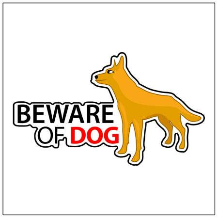 Beware of dog, Vector Illustration on white background. 矢量图像