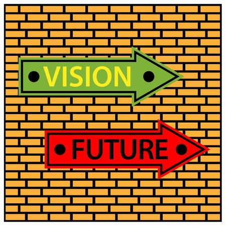 Sign board Directing To Visions And To The Future. Vector Illustration on Brick wall background. 矢量图像