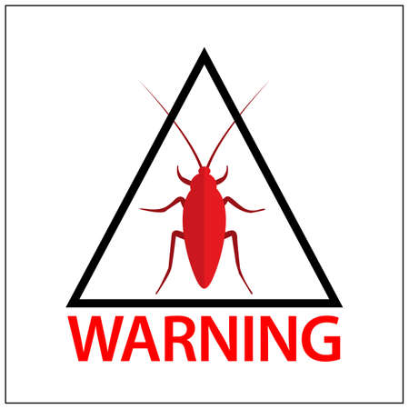 Cockroach warning sign, Vector Illustration on white background. Red Cockroach. 矢量图像