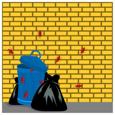 Trash with cockroaches. Vector Illustration on Brick wall background. 矢量图像